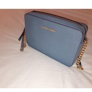 Michael Kors Jet Set light blue crossbody purse